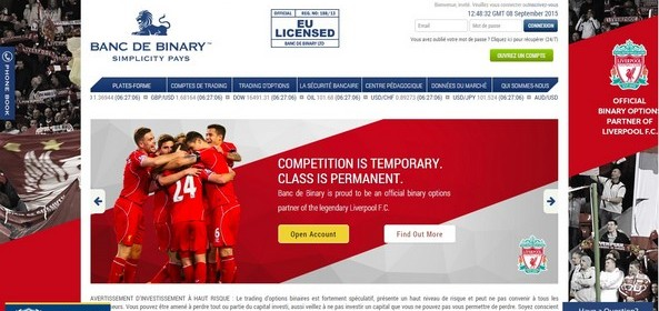 Banc de Binary options binaires Liverpool