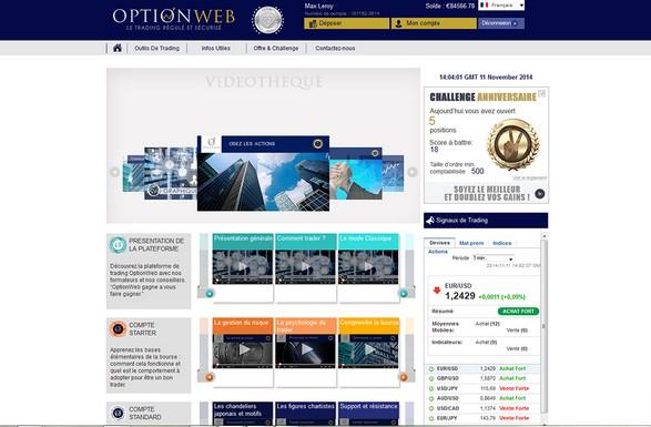 Avis courtier options binaires OptionWeb régulé AMF et CySEC