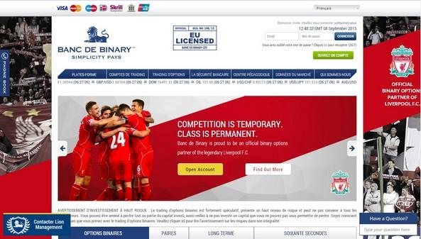 Banc de Binary options binaires Liverpool